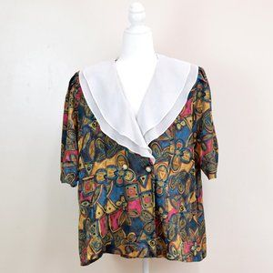 💜3/$30 80s Secretary Blouse Abstract Print XXL